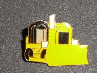 Bulldozer Bull Dozer Tractor Vtg Enamel Metal Pin Badge NOS Heavy