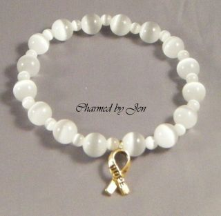 LUNG CANCER Awareness Cats Eye Stretch Bracelet w/ HOPE Ribbon Charm