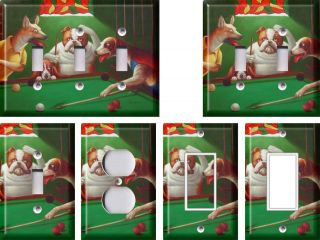 dogs playing pool 1 light switch plate more options size