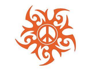 TRIBAL SUN PEACE SIGN VINYL WINDOW DECAL ORANGE 5X5 AUTO TRUCK VAN