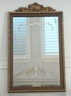 vintage gilt frame w etched reversed bevels glass mirror time