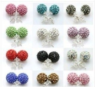 8mm Disco Balls Swarovski Crystal Stud Earrings Mixed Colors wholesale