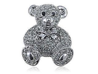 Swarovski Crystal Elements Gunmetal Smokey Grey Teddy Bear Fashion Pin