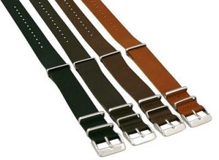 24MM LEATHER NATO Style MILITARY WATCH BAND SOLID Invicta Strap FITS