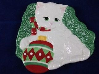 Yuletide Christmas Snack Canape Plate Candy Dish White Kitty Cat 2008