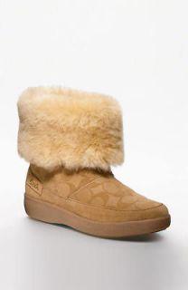 New Coach Signature TERI Women Suede Fur Boots Shoes Flats NIB Multi