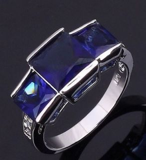 Jewelry Womans Blue Sapphire 10KT White Gold Filled Ring Size 8 Gift