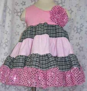 Kidcosmic Super Twirly Pink and Black Tiered Dress NWT Size 24M 2T