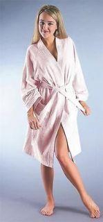 womens turkish terry cotton bathrobe white pink s m l