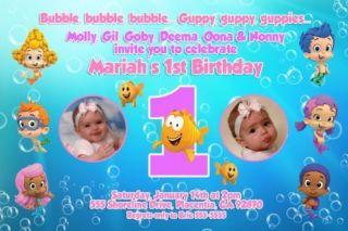 Guppy Photo Birthday Party Invitation or Thank You Card Boy Girl