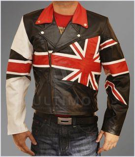 Flag Motorcycle Slim fit Leather Jacket Union Jack UK Flag Biker Style