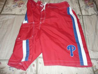 PHILADELPHIA PHILLIES MENS EXTRA LARGE RED BATHING SUIT NEW WITH TAG