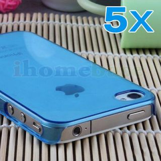 Wholesale 5Pcs/Lot Blue Clear Ultra Thin Hard Case Cover For iPhone