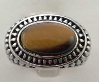 Tiger eye AWESOME detailed GREEK DESIGN mens ring WHITE gold overlay