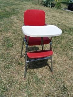 Vtg Retro Red & White COSCO Chrome Baby Feeding High Chair 50s or 60