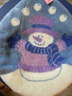 toilet seat cover blue snowman bathroom winter decor new time