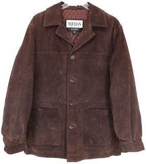 WESTERN Vtg WILSON® Suede LEATHER Barn Coat MOTORCYCLE JACKET M Brown