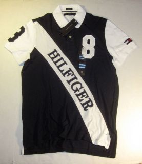 Tommy Hilfiger Mens S/S Custom Fit Sash Logo White & Blue Polo Shirt