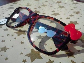 NERD Hello Kitty Inspired Tortoise Shell Glasses Red Bow Clear Lens