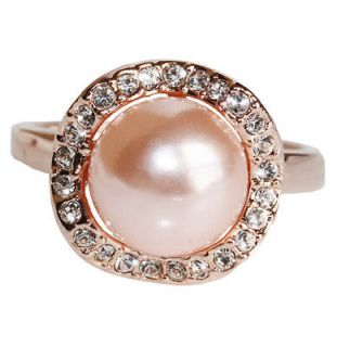 10mm pink pearl 18K gold GP engagement wedding bridal Ring R290