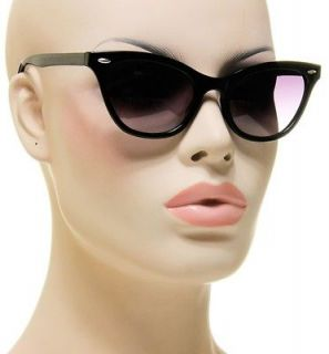 New Womens Sophisticated Kitty Cat Eye Shades Black Frame Sunglasses