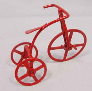 Red Enamel Metal High Wheel Bicycle Tricycle Xmas Ornament or Figurine