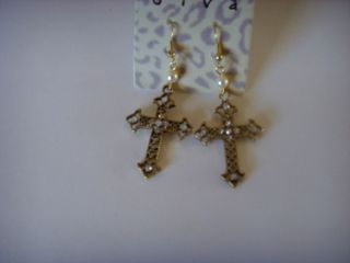 Earrings Turquoise Cross Large Sterling Silver Plated Pierced neon