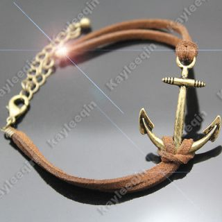 Vintage Copper Anchor Nautical Sailor Bracelet Bangle Biker Punk