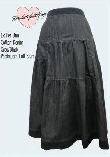Ex Per Una by M&S cotton black denim full skirt size 8, 10, 12, 14, 16