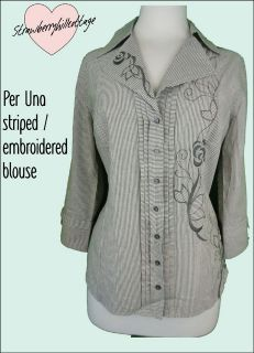 Ex Per Una by M&S Embroidered Striped Cotton Blouse / Top 3/4 sleeves