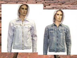 Denim Jackets, White with detachable Hoodie. long sleeve. LATEST NEW