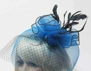 Large Wedding Fascinator Hat Hair Clip Headband Blue Green Gray Black