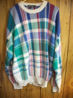 NAUTICA SZ XL VINTAGE MANS SWEATER COTTON PINK BLUE GREEN PLAID GENTLY