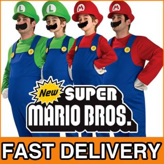 DELUXE Super Mario Luigi Bros Mens Boys Fancy Dress 1980s Costume