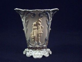 ANTIQUE VILLEROY & BOCH METTLACH DECORATIVE VASE WITH PARIAN FIGURES