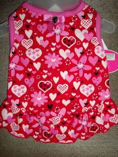 GLAMOUR to the BONE HEARTS & FLOWERS Valentines Day PUPPY DRESS Xsm