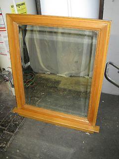 antique salvaged wood frame built in mirror