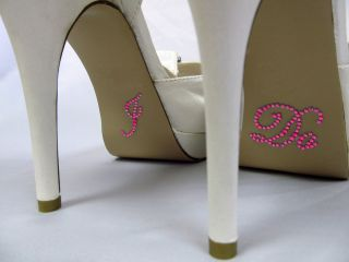 Hot Pink Crystal I DO Shoe Stickers for Bridal Shoes Rhinestone