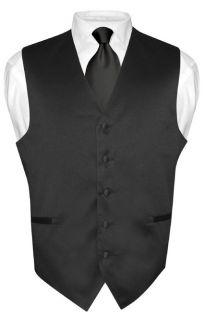 Mens BLACK Tie Dress Vest NeckTie Set for Suit or Tuxedo XXL
