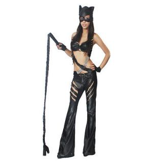 Black Cat Woman Suit Half Mask Bra Pant Glove Costume L Size