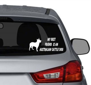 friend is an Australian Cattle Dog vinyl car window decals stickers