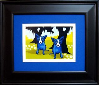 GEORGE RODRIGUE BLUE DOG Daisies For You POSTCARD   FRAMED   13.5 x