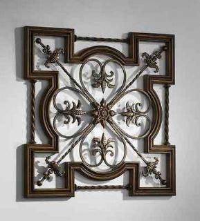 Tuscan Old World Wrought Iron & Wood Fleur De Lis Wall Decor Art   30