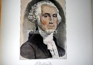AND IVES LITHOGRAPH COPYRIGHT 1952 GEORGE WASHINGTON 12X15 NICE