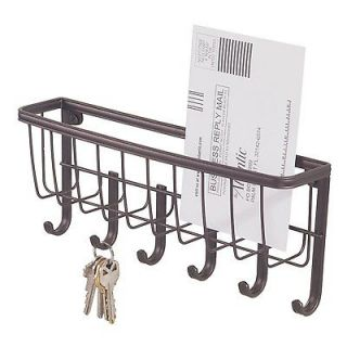 wall mount mail key rack letter holder organizer w 6 hooks home office