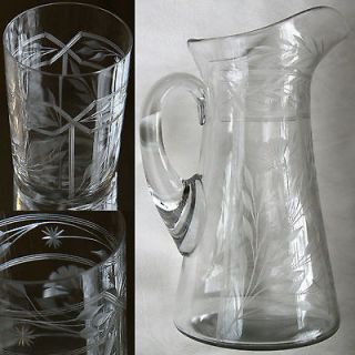 ANTIQUE ETCHED LRG. CRYSTAL PITCHER + 4 GLASSES SET_NO FLAWS_HANDBLOWN
