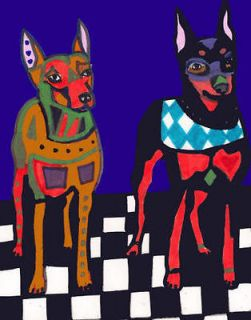 Newly listed PRINT Miniature Pinscher Min Pin Dog Doberman Art