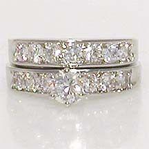 Newly listed 2 CARAT ROUND WHITE WEDDING ENGAGEMENT RING SET SIZE 4