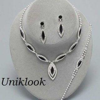 Pc BRACELET Necklace Set Bridal Wedding Black & Clear Crystal