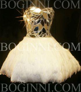 CORSET BODICE WHITE SWAN FEATHER SHORT TUTU WEDDING / PROM DRESS